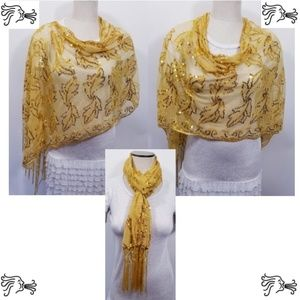 Mustard Yellow Sequin Poncho Scarf Accessory